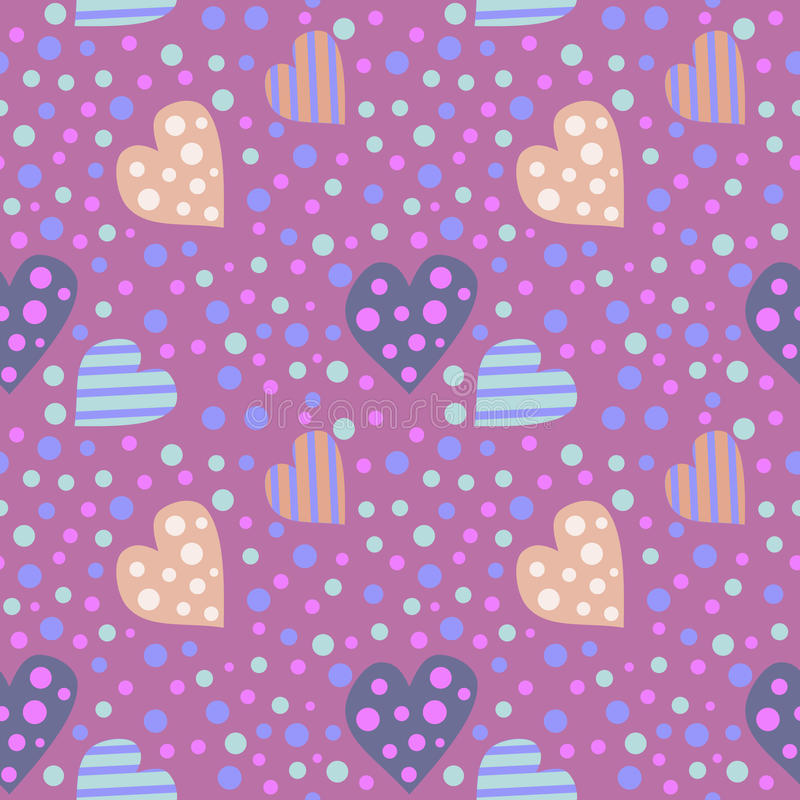 Teste padrão sem emenda do vetor Fundo bonito com corações e os pontos coloridos no contexto violeta ilustração stock