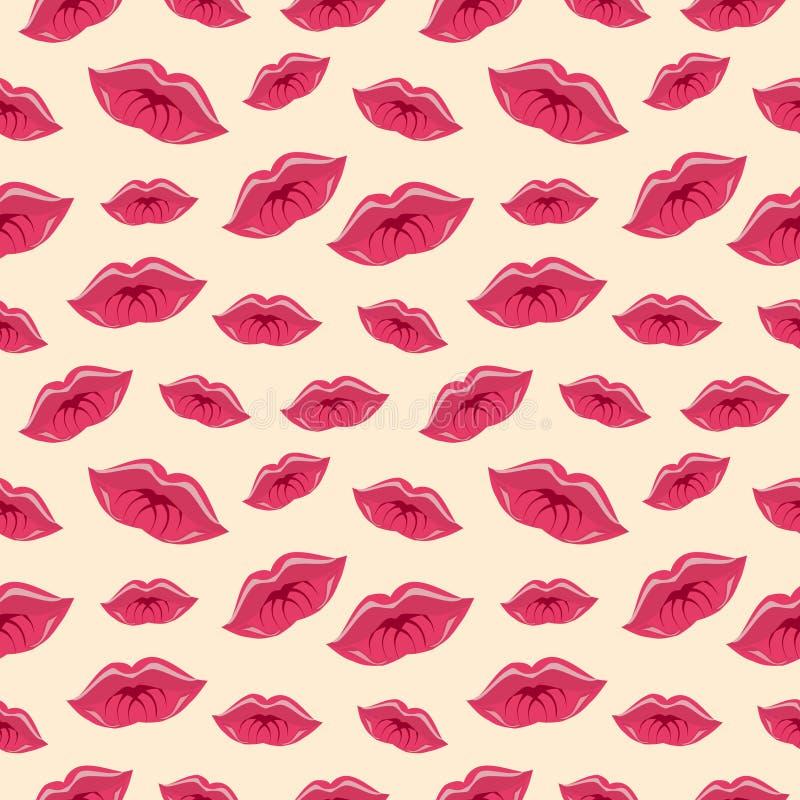 Teste padrão sem emenda do vetor, fundo brilhante com bordos, silhueta vermelha do close-up sobre o contexto cor-de-rosa ilustração do vetor