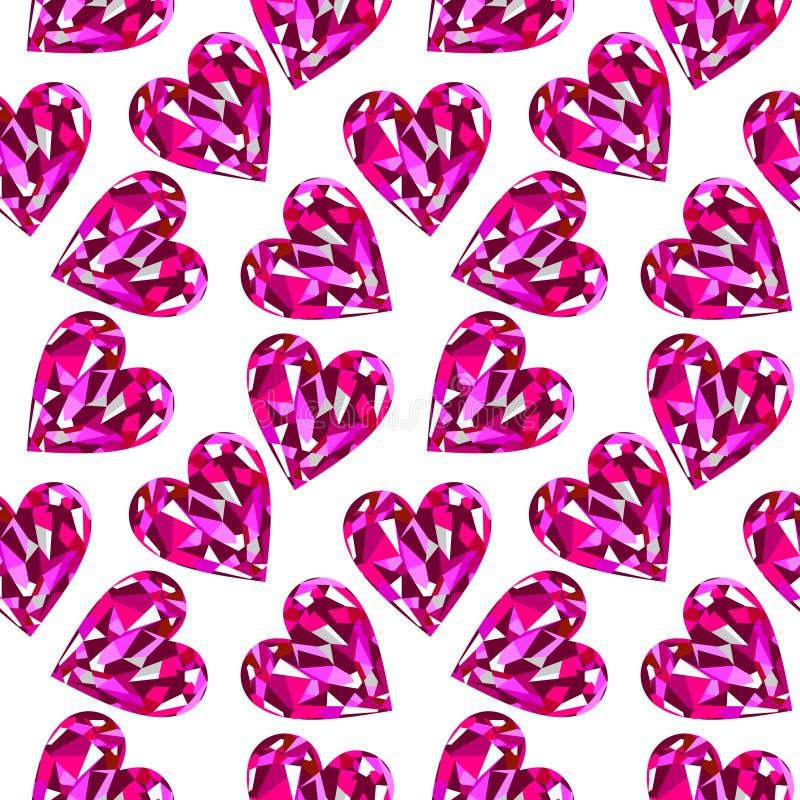 Teste padrão sem emenda do vetor, fundo caótico com as pedras preciosas cor-de-rosa brilhantes na forma dos corações ilustração royalty free