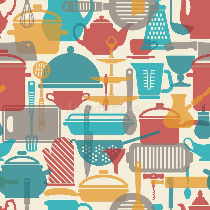 Teste padrão sem emenda do vetor Fundo da cozinha Utensílios de cozimento e ferramentas da cozinha ilustração do vetor