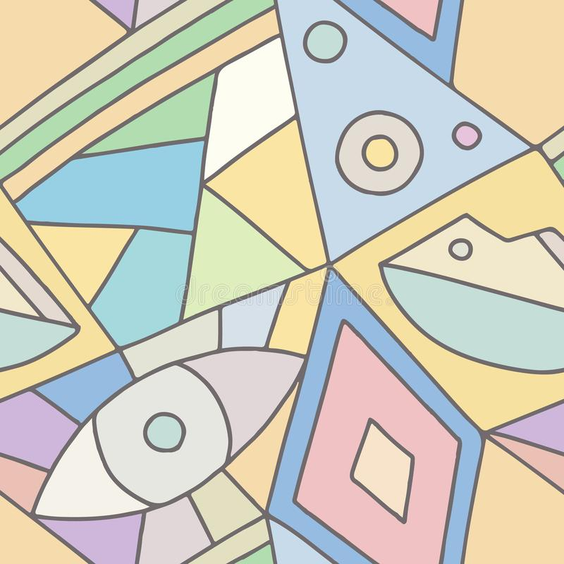 Teste padrão sem emenda do vetor, fundo geométrico assimétrico alinhado rosa com rombo, triângulos Cópia para a decoração, papel  ilustração do vetor