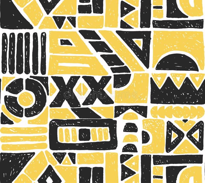 Teste padrão sem emenda do vetor Fundo geométrico com elementos tribais decorativos tirados mão em cores do marrom do vintage ilustração stock