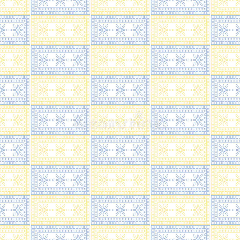 Teste padrão sem emenda do vetor Fundo geométrico simétrico com quadrados azuis e amarelos no contexto branco Ornamento decorativ ilustração stock