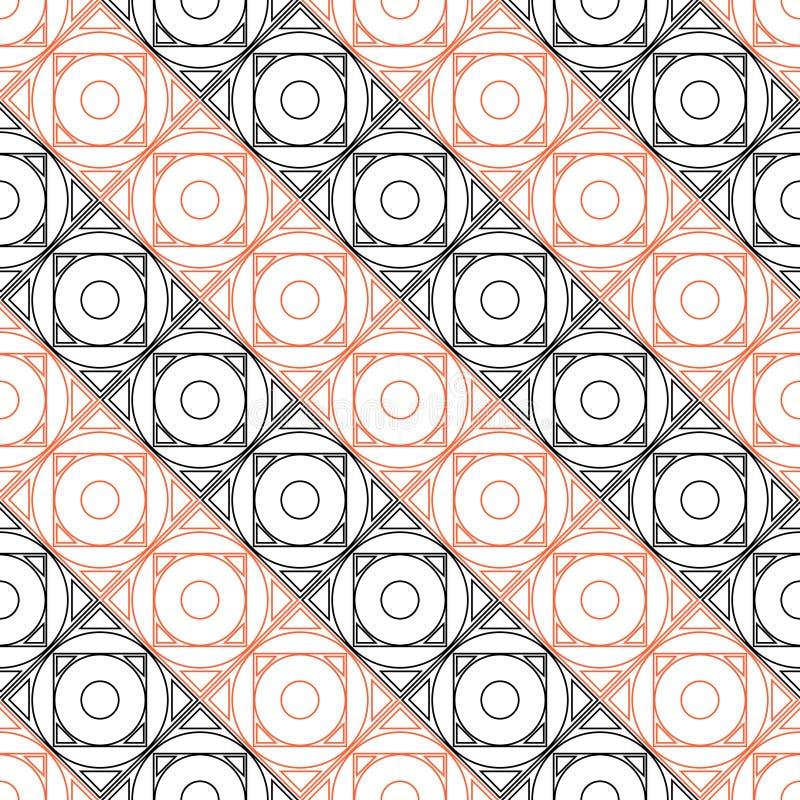 Teste padrão sem emenda do vetor Fundo geométrico simétrico com quadrados pretos e vermelhos no contexto branco ilustração do vetor