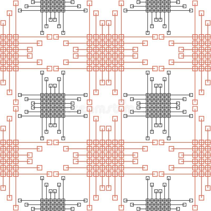 Teste padrão sem emenda do vetor Fundo geométrico simétrico com quadrados vermelhos e pretos e linhas Ornamento de repetição deco ilustração royalty free