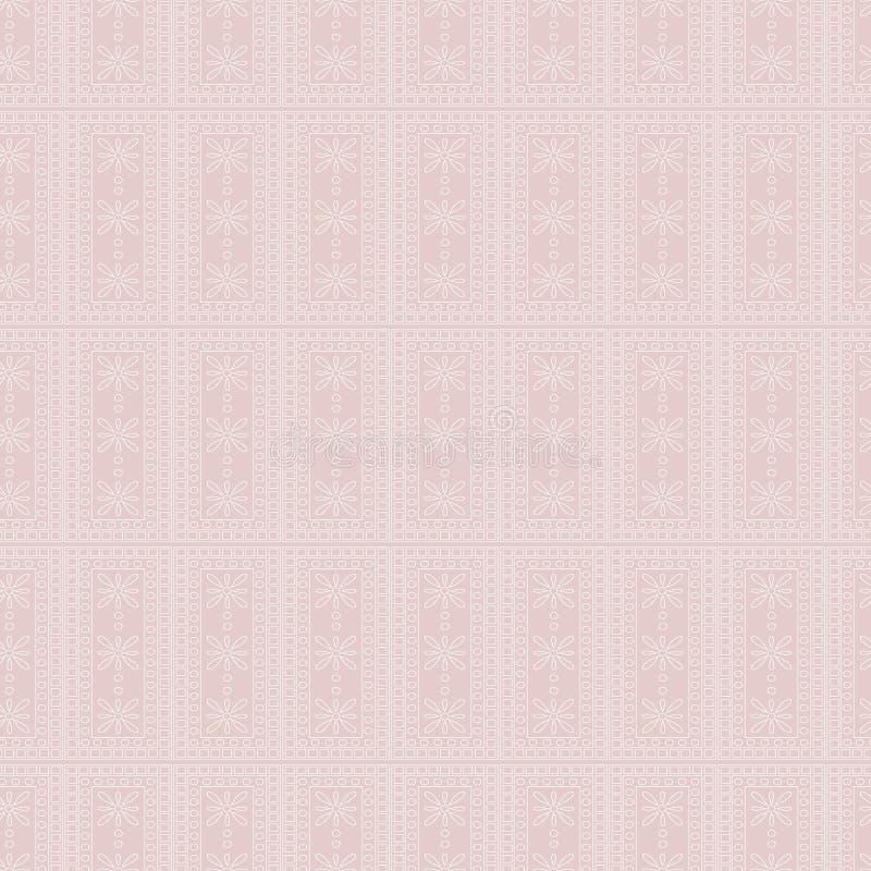 Teste padrão sem emenda do vetor Fundo geométrico simétrico com retângulos no contexto cor-de-rosa Ornamento decorativo ilustração do vetor