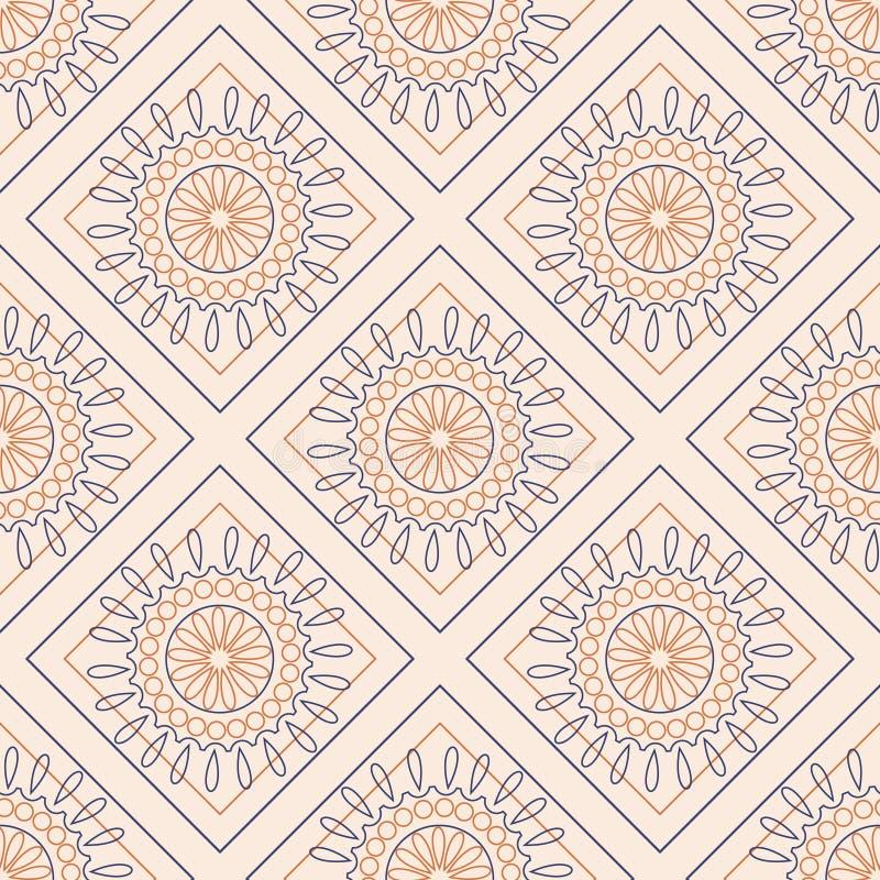 Teste padrão sem emenda do vetor Fundo geométrico simétrico com rombos e círculos coloridos no contexto cor-de-rosa Orname decora ilustração royalty free
