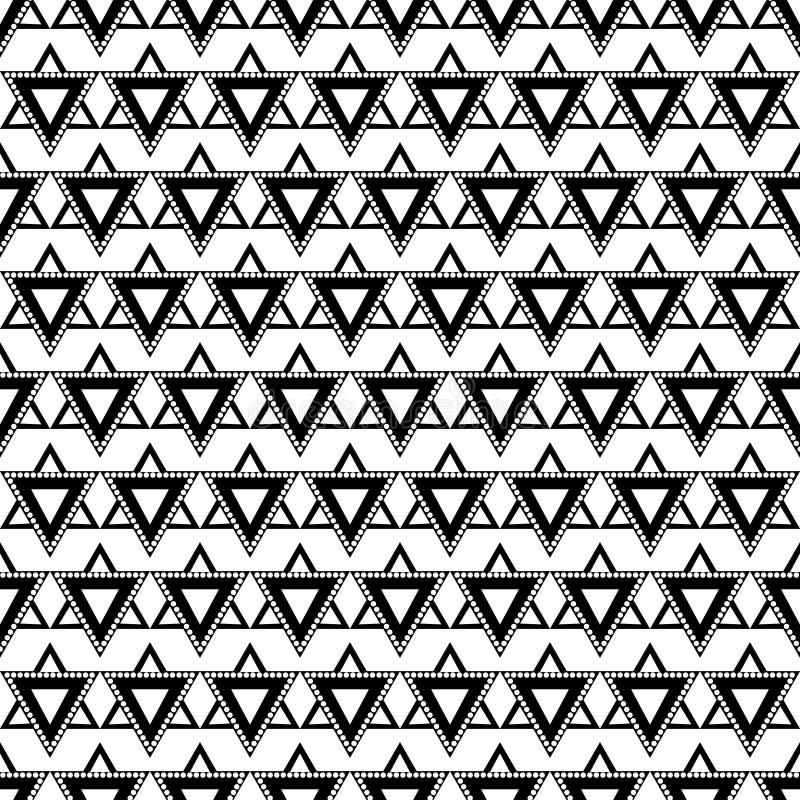 Teste padrão sem emenda do vetor Fundo geométrico simétrico com triângulos em cores preto e branco ilustração do vetor