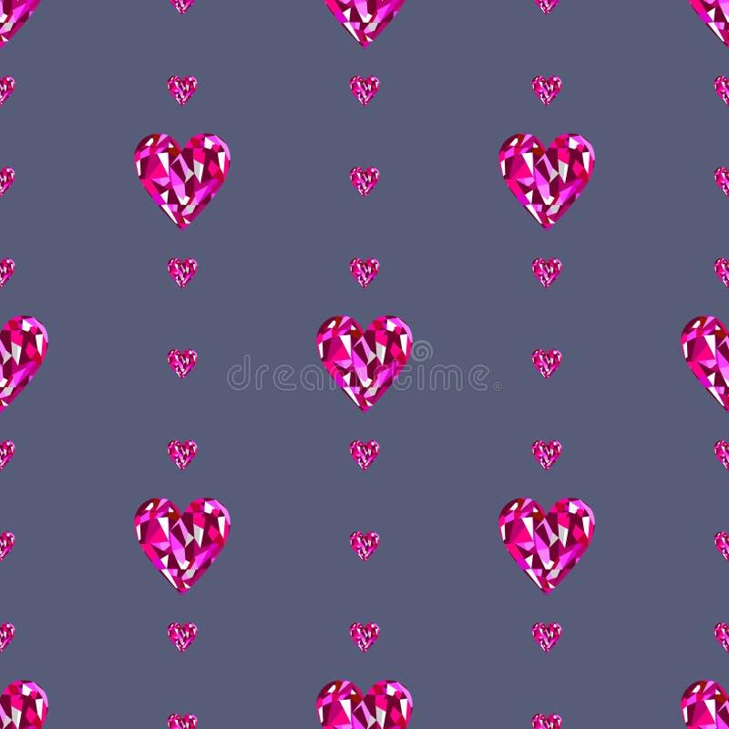 Teste padrão sem emenda do vetor, fundo simétrico com as pedras preciosas cor-de-rosa brilhantes na forma dos corações ilustração royalty free