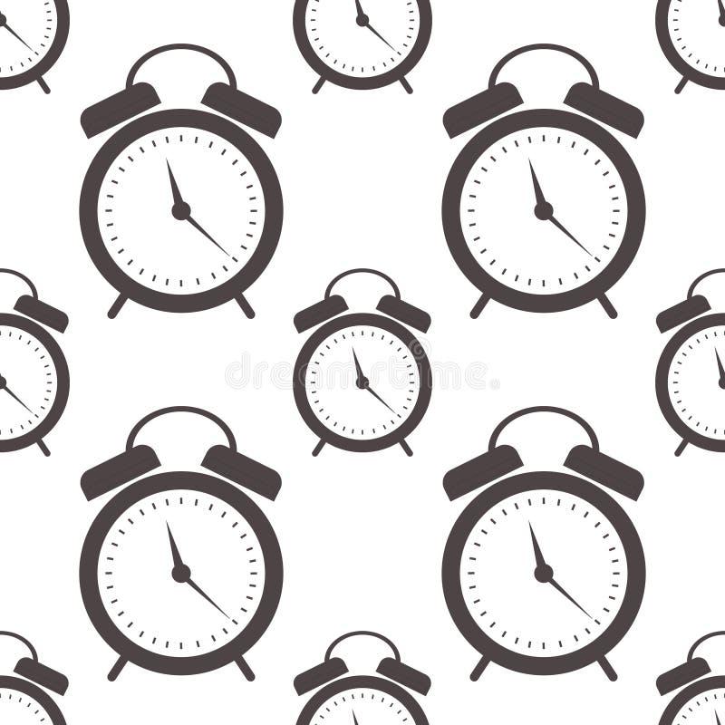 Teste padrão sem emenda do vetor Fundo simétrico com os despertadores do preto do close up no fundo branco ilustração stock
