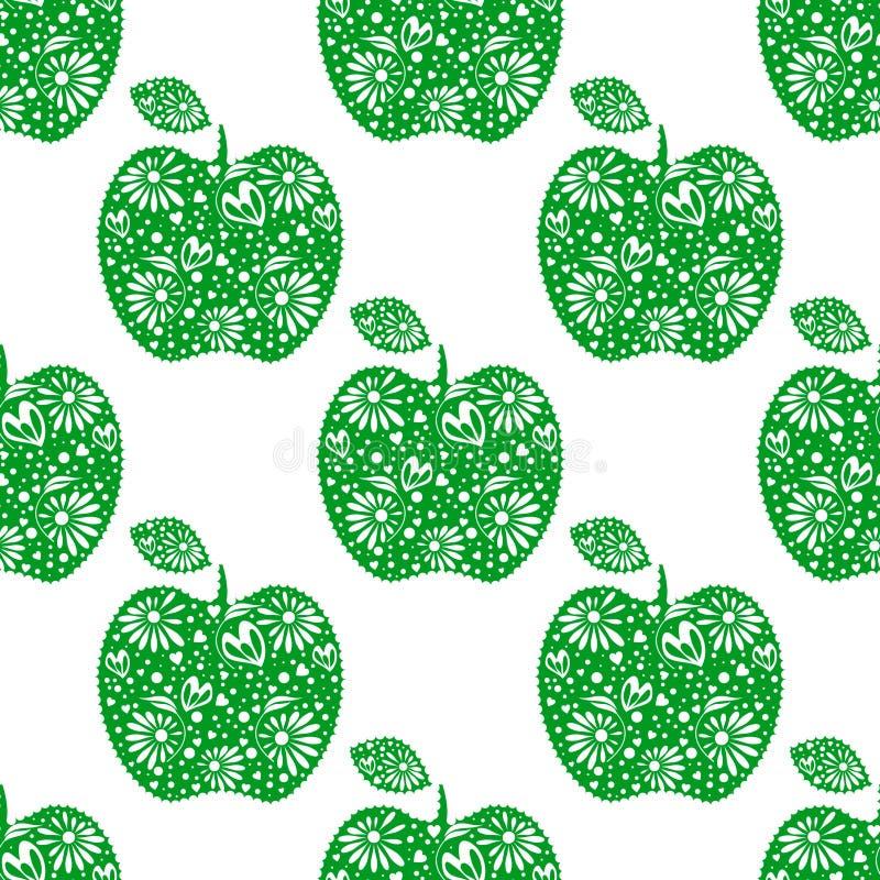 Teste padrão sem emenda do vetor, fundo simétrico dos frutos brilhantes com as maçãs decorativas decorativas verdes, no contexto  ilustração royalty free