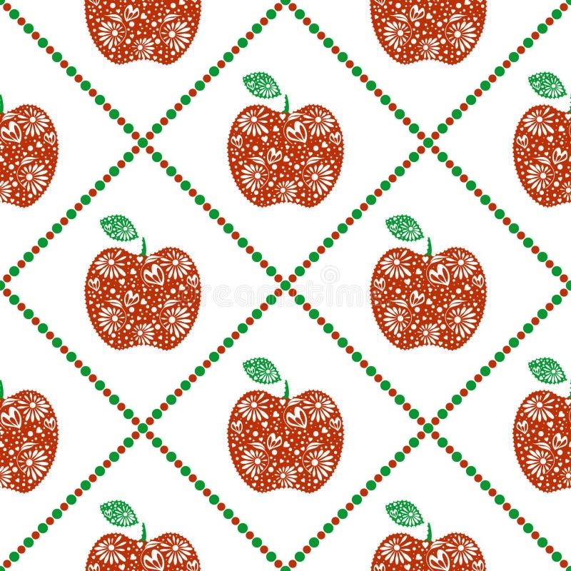 Teste padrão sem emenda do vetor, fundo simétrico dos frutos brilhantes com as maçãs decorativas decorativas vermelhas e rombo, n ilustração royalty free