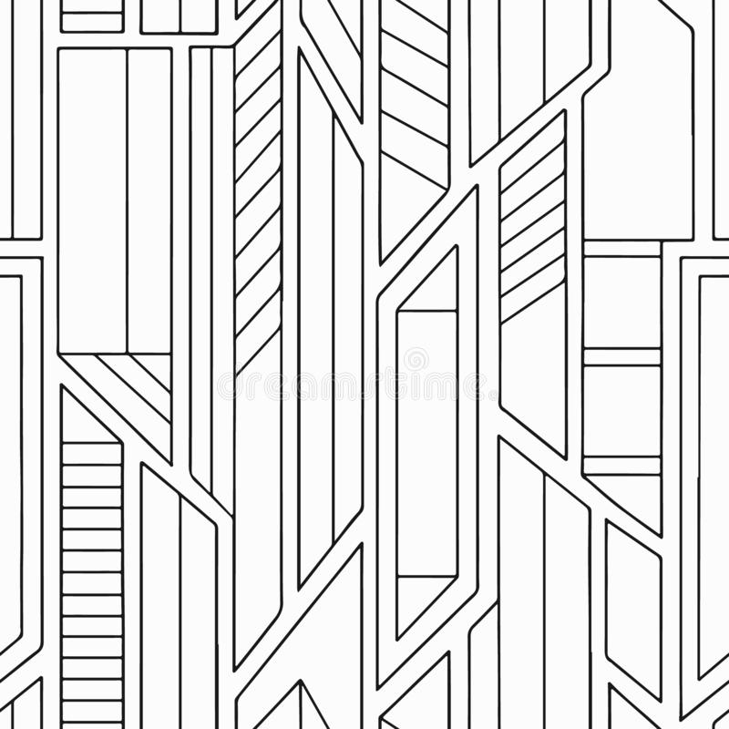 Teste padrão sem emenda do vetor geométrico com formulários geométricos diferentes Quadrado, triângulo, retângulo, linhas Projeto ilustração do vetor