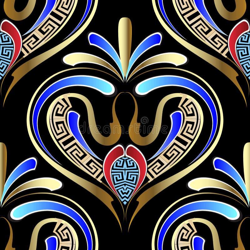 Teste padrão sem emenda do vetor geométrico floral grego ilustração stock