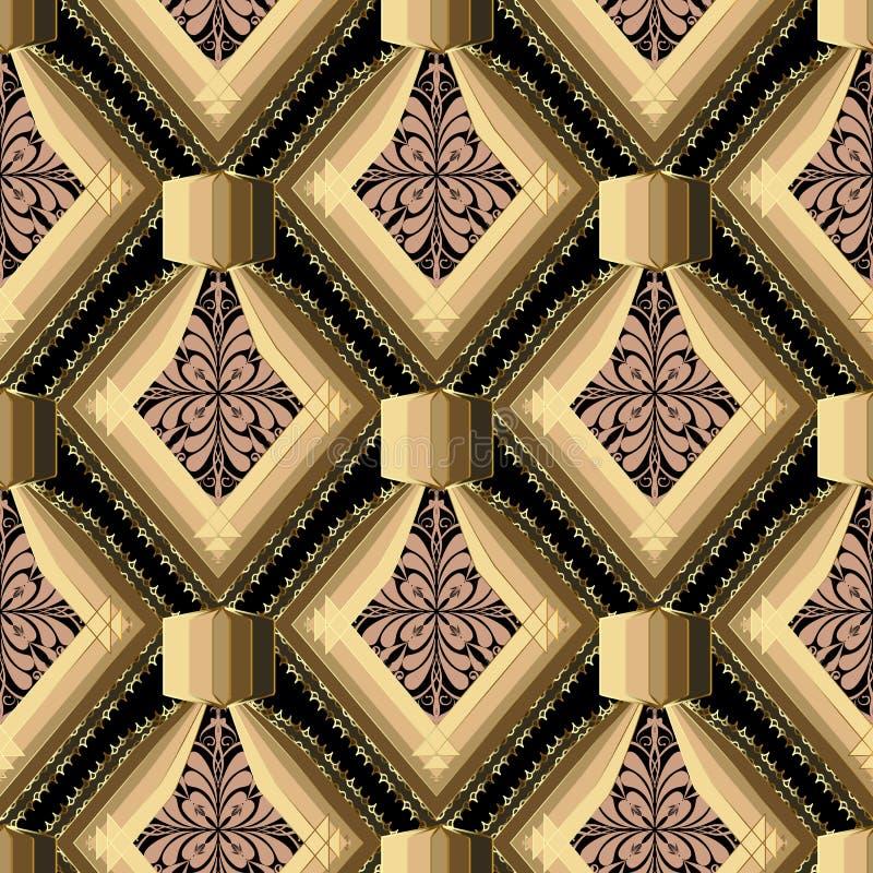 Teste padrão sem emenda do vetor geométrico moderno abstrato Vintag floral ilustração do vetor