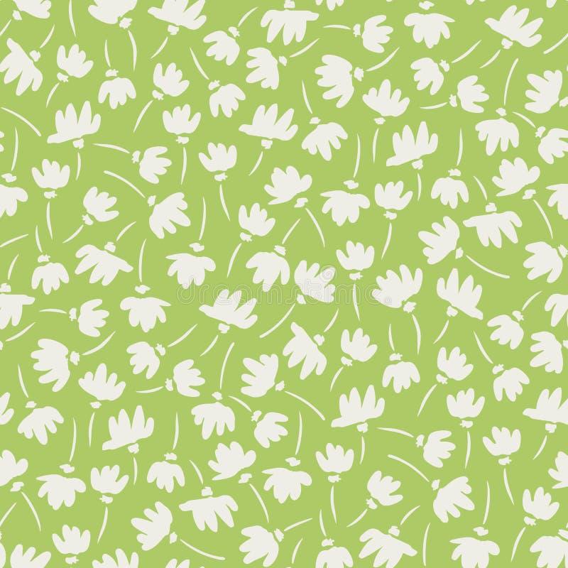 Teste padrão sem emenda do vetor Gestural abstrato branco e verde das flores da mola Backrgound floral limpo simples ilustração royalty free
