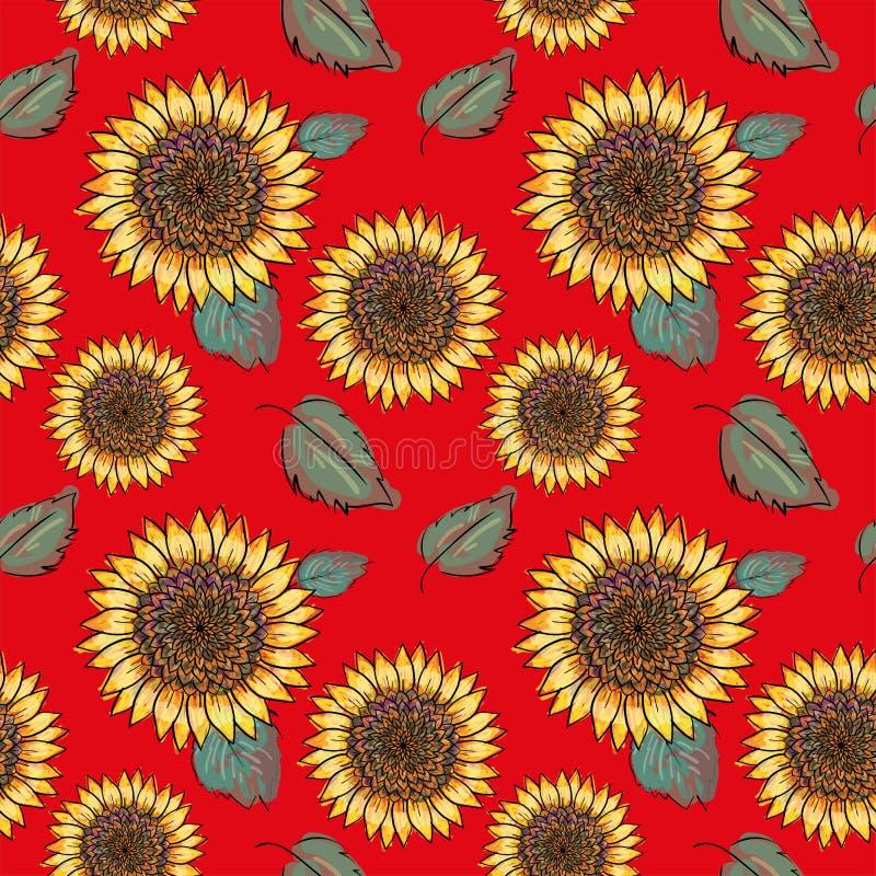 Teste padrão sem emenda do vetor do girassol com folhas verdes, imitando a tinta e a aquarela no fundo vermelho Cabeças de flor d ilustração royalty free