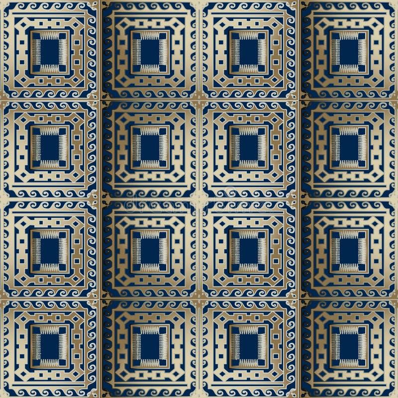 Teste padrão sem emenda do vetor grego quadriculado ornamentado do ouro 3d Geometri ilustração do vetor