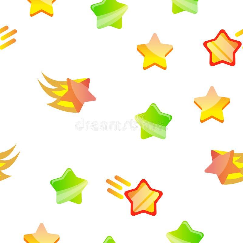Teste padrão sem emenda do vetor do grupo do ícone da estrela ilustração stock