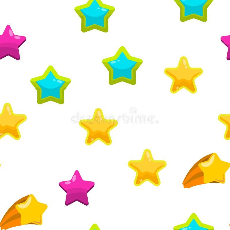 Teste padrão sem emenda do vetor do grupo do ícone da estrela ilustração do vetor