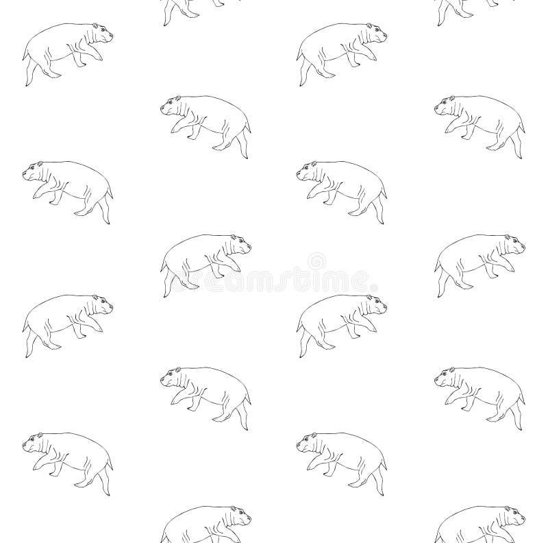 Teste padrão sem emenda do vetor do hipopótamo tirado da mão preta ilustração stock