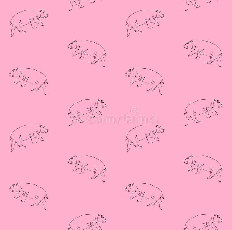 Teste padrão sem emenda do vetor do hipopótamo tirado mão ilustração royalty free