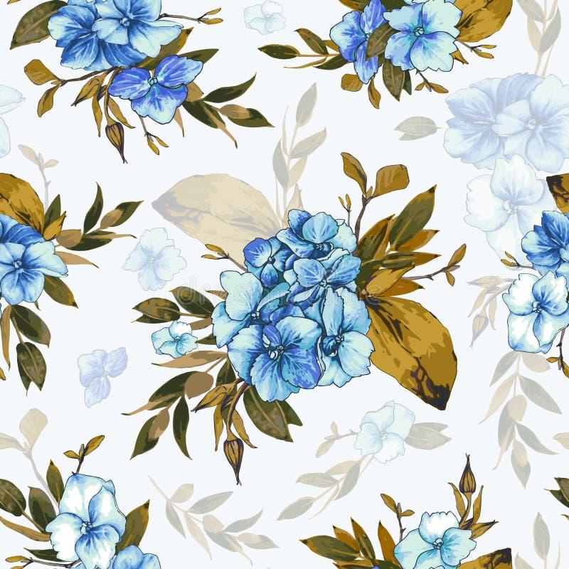 Teste padrão sem emenda do vetor, hortênsia azul de florescência e folha do ocre ilustração royalty free