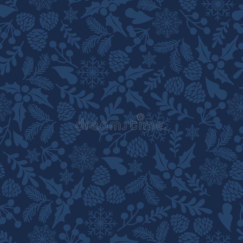 Teste padrão sem emenda do vetor do inverno com bagas do azevinho Parte da coleção dos fundos do Natal ilustração royalty free