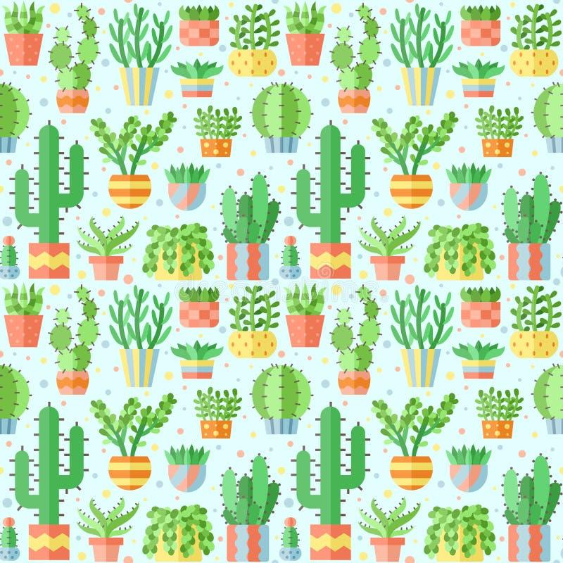 Teste padrão sem emenda do vetor liso das plantas carnudas e dos cactos ilustração stock