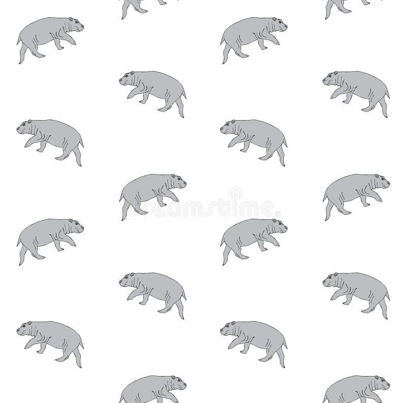 Teste padrão sem emenda do vetor mão cinzenta do hipopótamo tirado ilustração stock