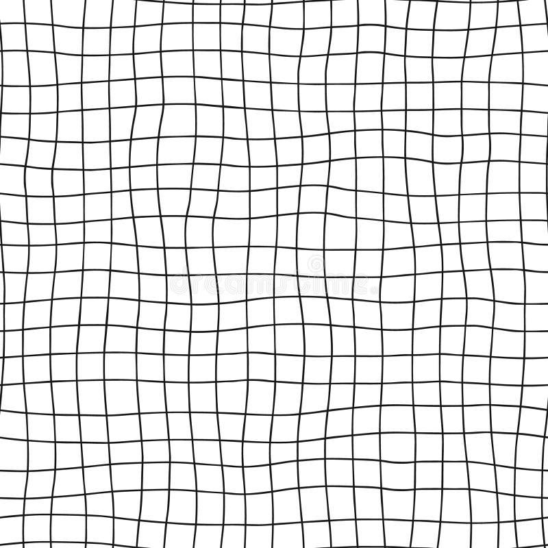 Teste padrão sem emenda do vetor Mão geométrica preto e branco fundo tirado com linhas horizontais e verticais Cópia simples da x ilustração royalty free