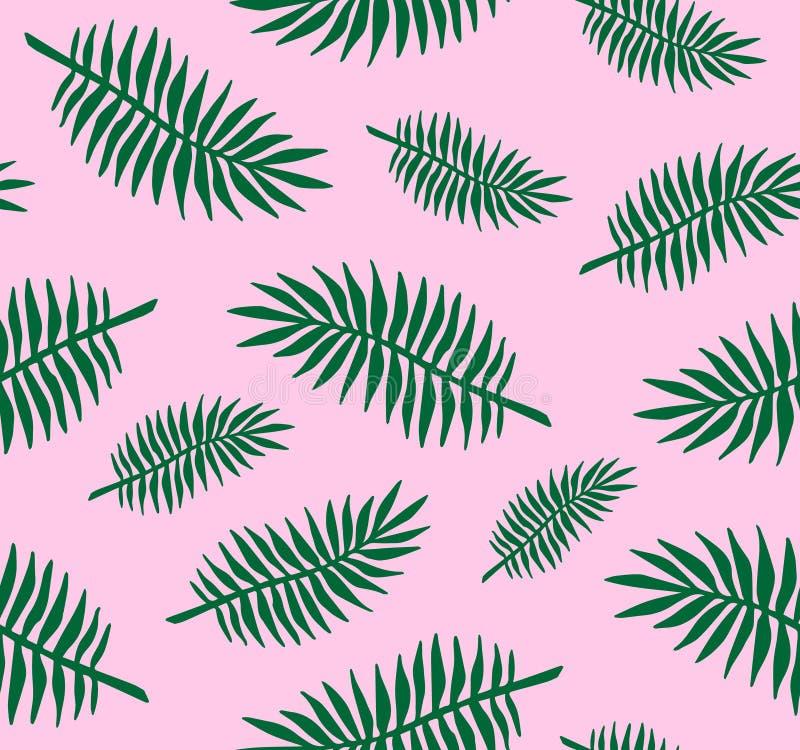 Teste padrão sem emenda do vetor mão lisa verde de folhas de palmeira tiradas no fundo cor-de-rosa pastel ilustração royalty free