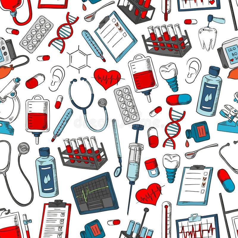 Teste padrão sem emenda do vetor médico de artigos da medicina ilustração royalty free
