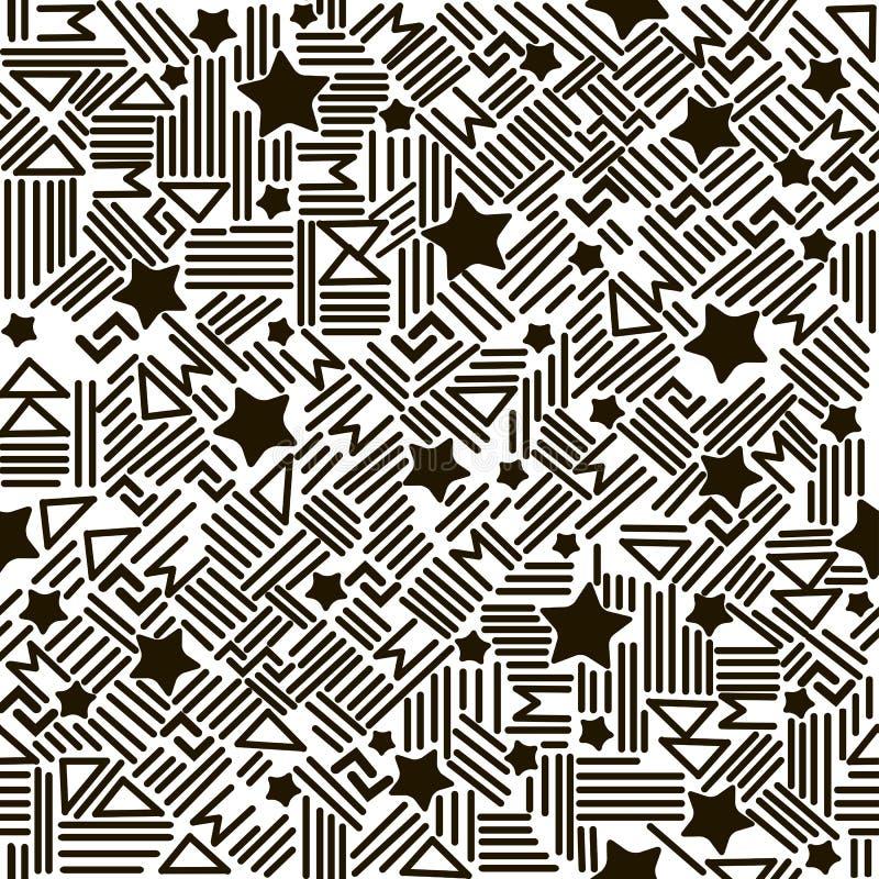 Teste padrão sem emenda do vetor moderno de estrelas preto e branco, triângulos, sinais Contexto decorativo do ornamento para a t ilustração royalty free