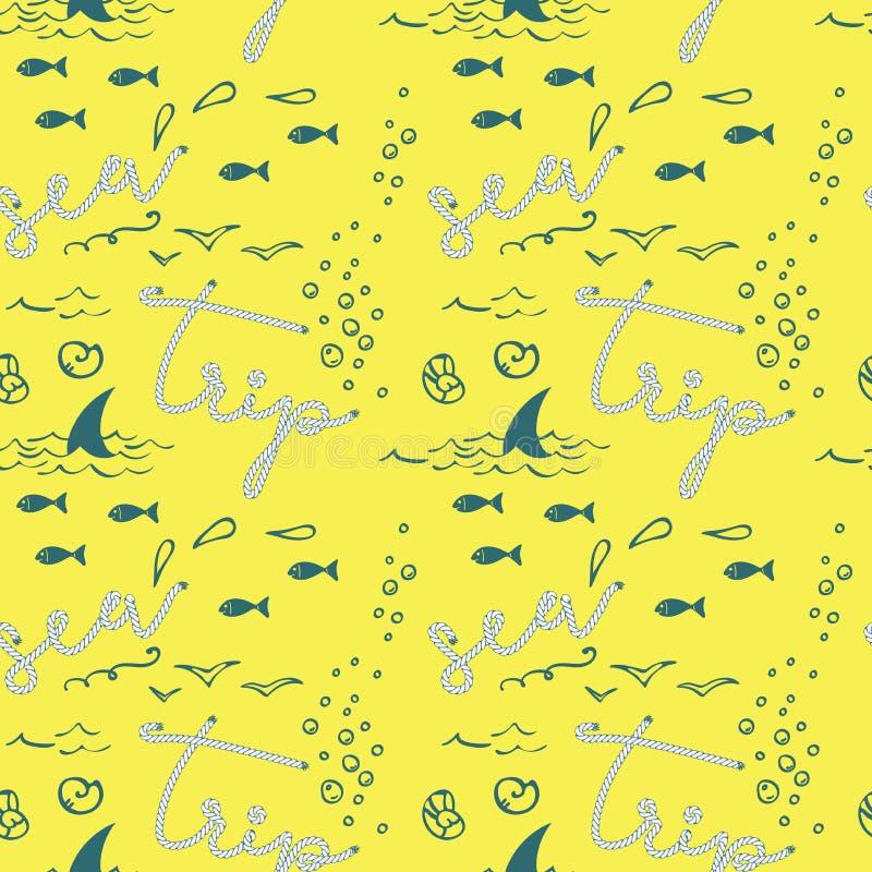 Teste padrão sem emenda do vetor moderno na moda elegante das crianças com os peixes bonitos da forma, os pássaros, as conchas ilustração stock
