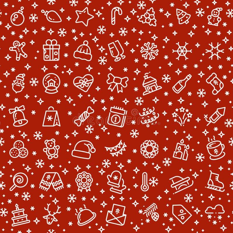 Teste padrão sem emenda do vetor do Natal com ícones do esboço do feriado do xmas ilustração stock