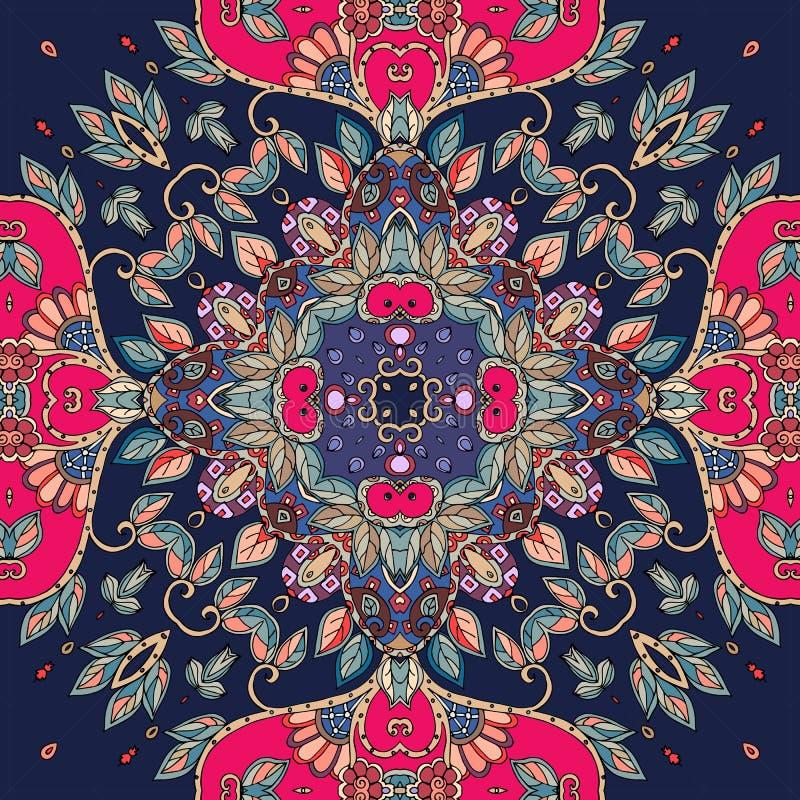 Teste padrão sem emenda do vetor no estilo étnico Azulejo tampa ilustração royalty free