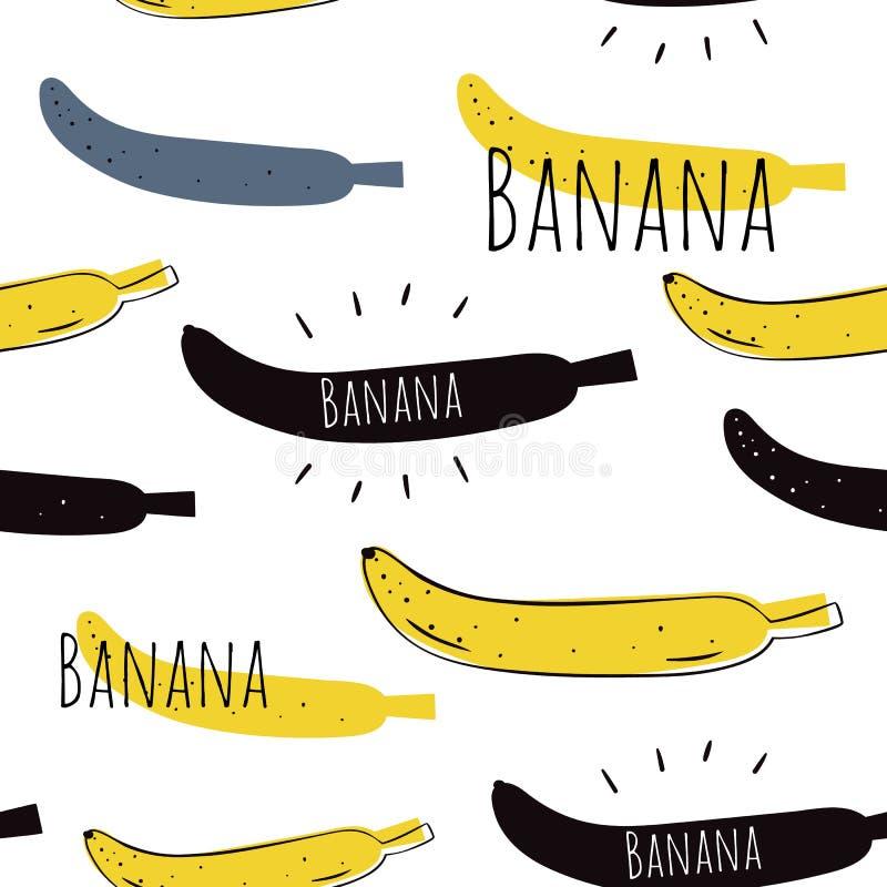 Teste padrão sem emenda do vetor no estilo dos desenhos animados Bananas Cópia escandinava ilustração do vetor