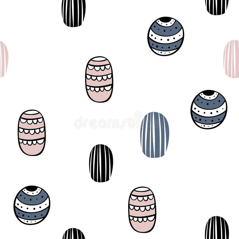 Teste padrão sem emenda do vetor no estilo escandinavo Formas abstratas minimalism Cópia dos desenhos animados, cartaz ilustração royalty free