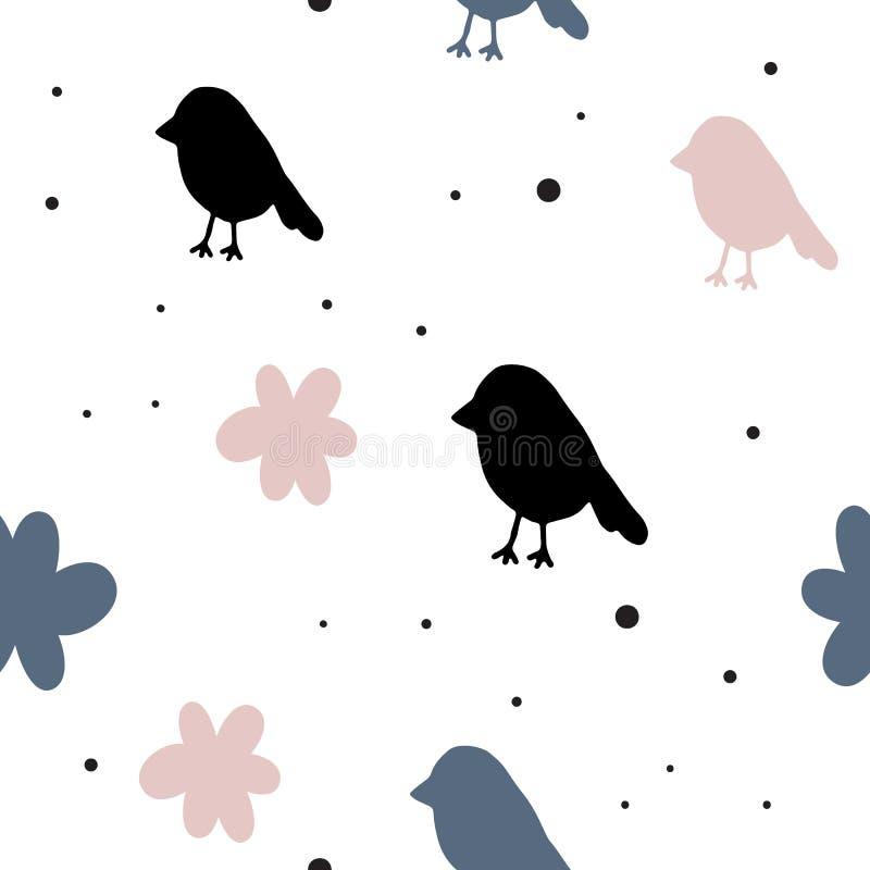 Teste padrão sem emenda do vetor no estilo escandinavo pássaros Cartaz agradável, cópia ilustração stock