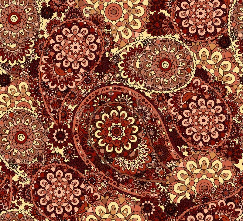 Teste padrão sem emenda do vetor no estilo oriental Elemento colorido para o projeto Fundo decorativo do tracery do laço Floral o ilustração do vetor