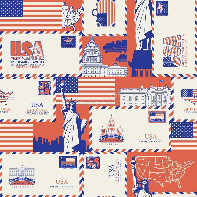 Teste padrão sem emenda do vetor no tema dos EUA ilustração stock