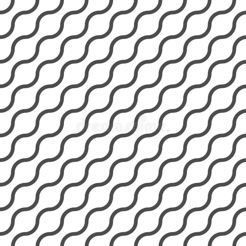 Teste padrão sem emenda do vetor ondulado, fundo abstrato geométrico da cor preto e branco Linha simples moderna ornamento da ond ilustração royalty free