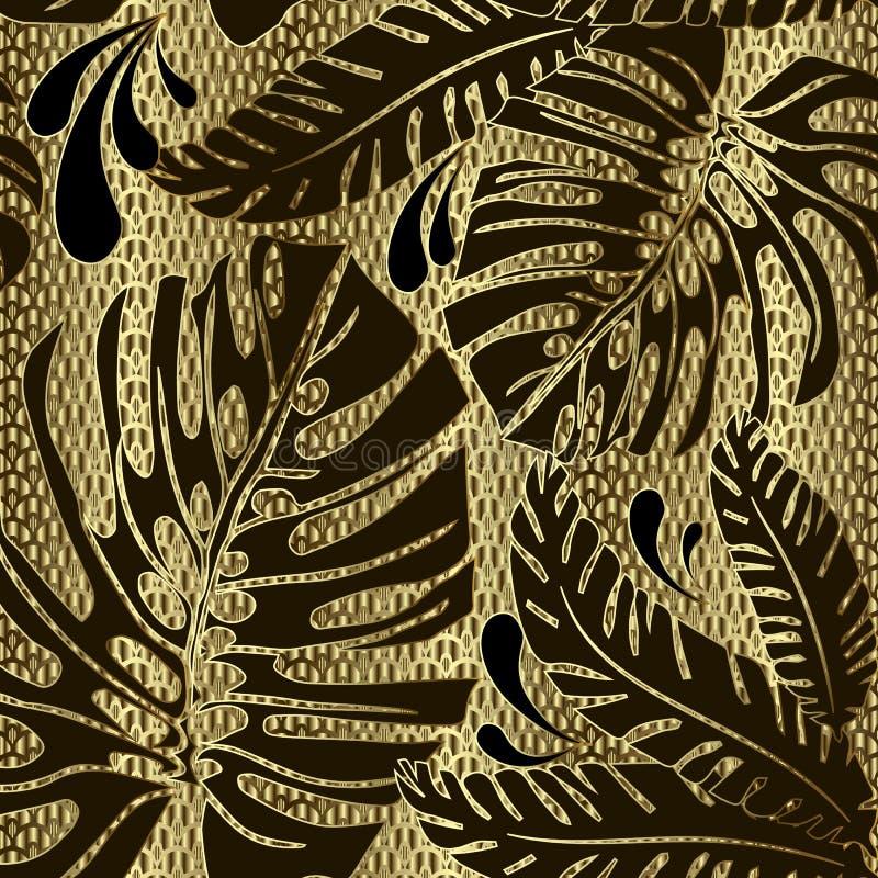 Teste padrão sem emenda do vetor ornamentado das folhas de palmeira Fundo 3d textured da estrutura decorativa da grade do ouro La ilustração do vetor