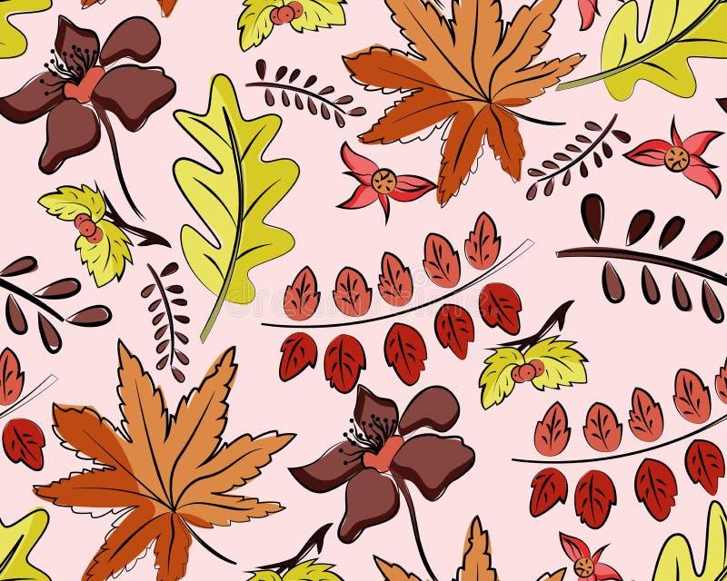 Teste padrão sem emenda do vetor do outono com folhas ilustração stock