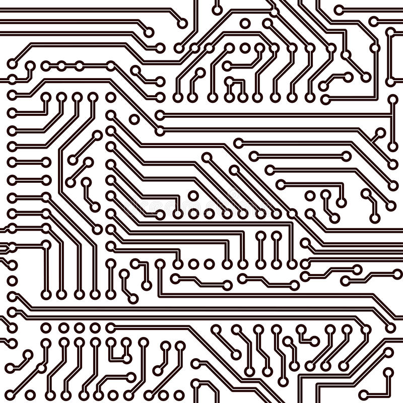 Teste padrão sem emenda do vetor - placa de circuito eletrônico ilustração do vetor