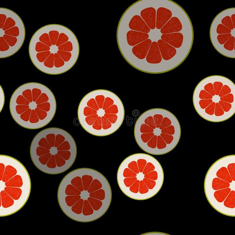 Teste padrão sem emenda do vetor do pomelo Fundo do alimento de Minimalistic Textura repetível das vitaminas ilustração do vetor