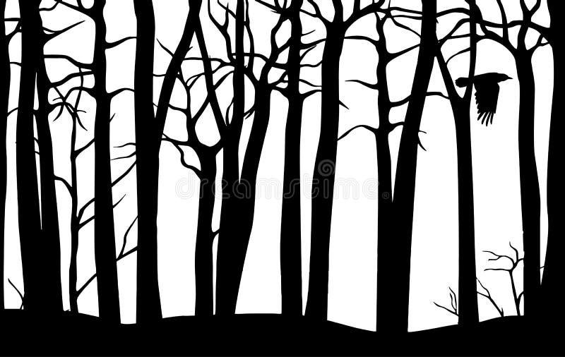 Teste padrão sem emenda do vetor preto da floresta assustador com árvores curvadas e o corvo de voo isolados no fundo branco ilustração do vetor