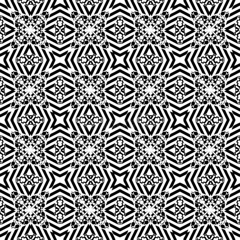 Teste padrão sem emenda do vetor preto e branco abstrato geométrico Orna ilustração stock