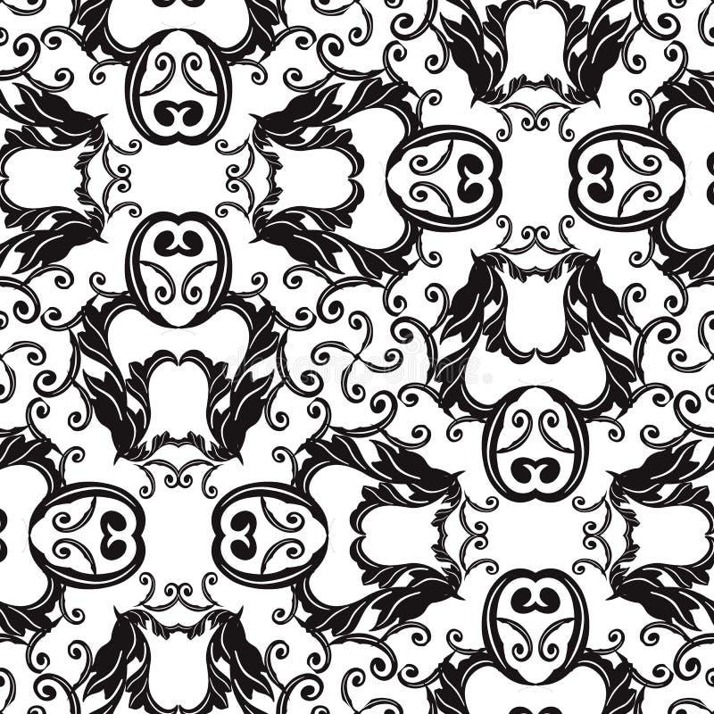 Teste padrão sem emenda do vetor preto e branco barroco Fundo monocromático decorativo Flores vitorianos barrocos antigas do esti ilustração do vetor